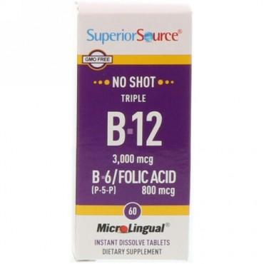 Superior Source, トリプルB-12、B-6 [P-5-P] / 葉酸、3000mcg / 800mcg、すぐ溶けるマイクロリンガル錠剤60錠 (Discontinued Item)